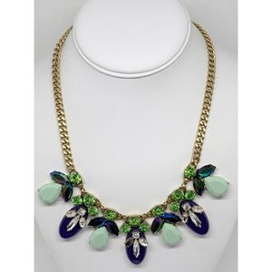 J. Crew Navy & Green Crystal Clusters Necklace